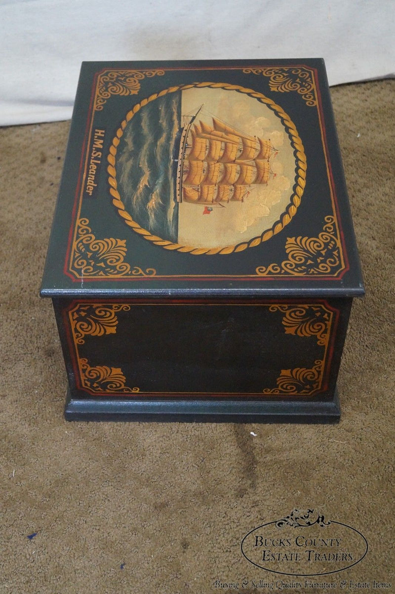 Hand Painted Nautical Battleship Lidded Chest Box Trunk HMS Leander (A)