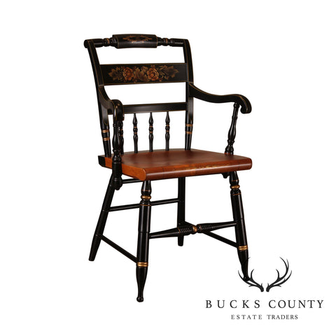Hitchcock Black & Maple Stenciled Armchair