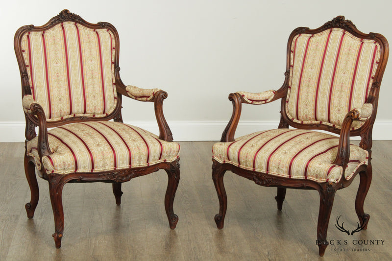 French Louis XV Style Antique Carved Walnut Pair Armchairs Fauteuil