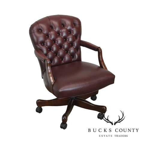 Oxblood Red Leather Tufted Chesterfield Style Executive Office Desk Chair (G)