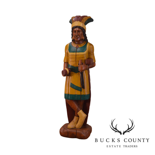 Hand Carved Wood Tobacco Store Indian Statue