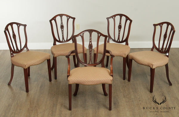 Custom Hepplewhite Style Vintage 1940's Set of 5 Shield Back Dining Chairs
