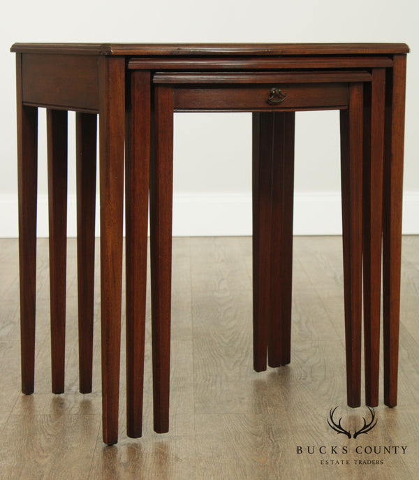 Vintage Mahogany Leather Top Nesting Side Tables