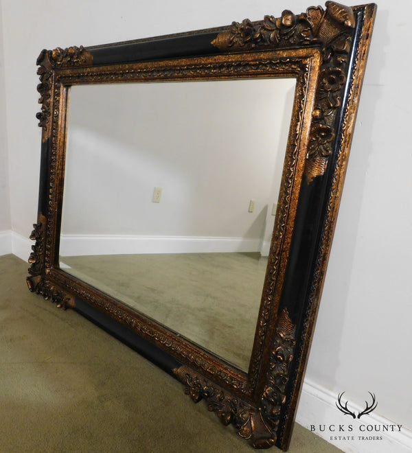 Timeless Reflections French Victorian Renaissance Style Black and Gold Carved Mantel Mirror