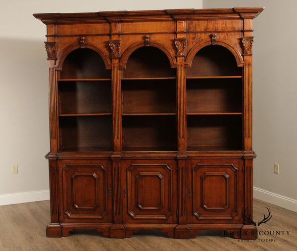 Italian Renaissance Style Carved Walnut Architectural Bookcase