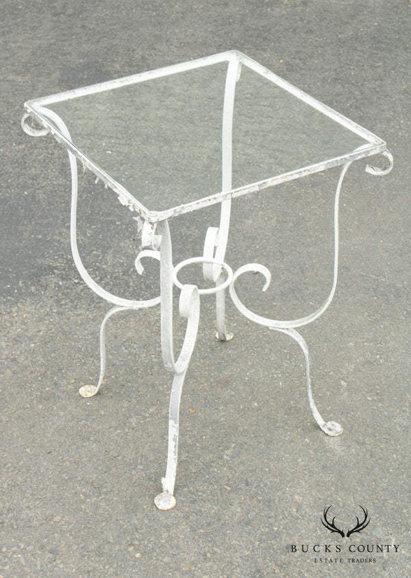 Salterini Vintage Wrought Iron Square Glass Top Garden, Patio Side Table