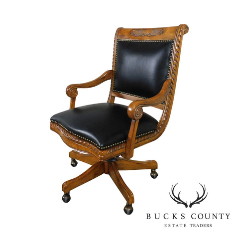 Victorian Style Carved Wood Black Leather Swivel Desk Chair