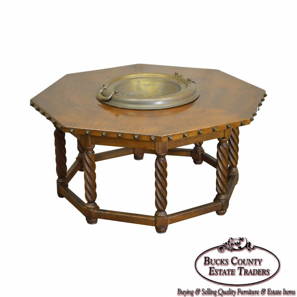 Spanish Renaissance Style Walnut Octagon Coffee Table w/ Brass Bowl