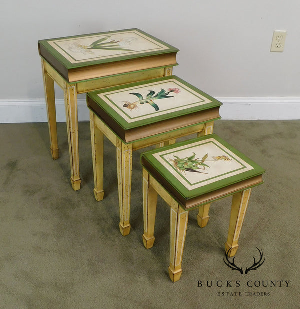 Faux Books Paint Decorated Nesting Set of 3 Side Tables