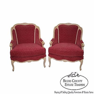 Stickley Pair of French Louis XV Style Paint Frame Bergere Lounge Chairs