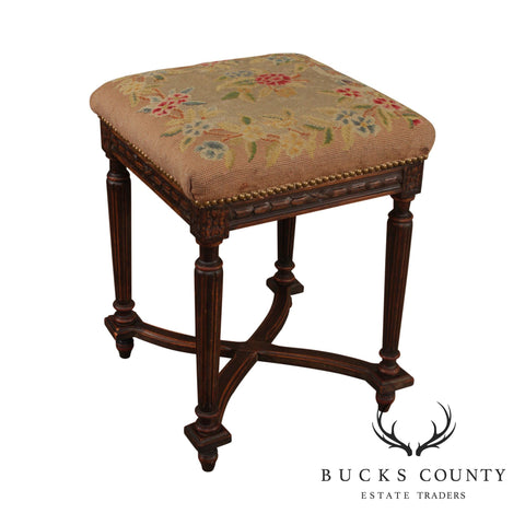 French Louis XVI Style Antique Square Needlepoint Stool