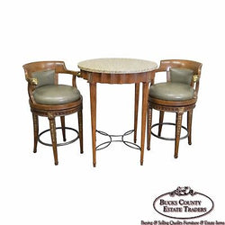 Quality Regency Style Round High Top Table w/ 2 Swivel Leather Stools