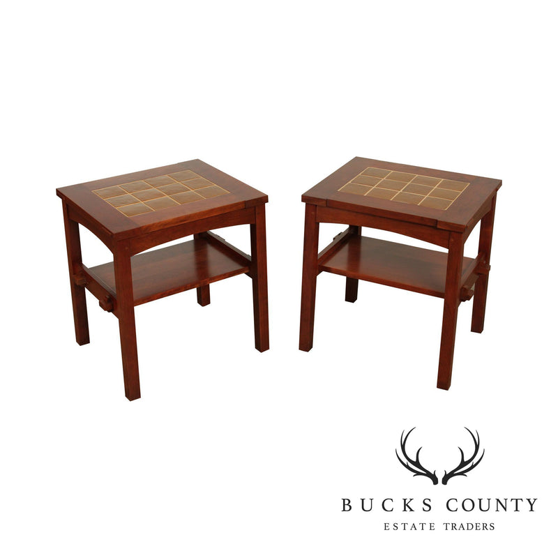 Stickley Mission Collection Cherry Tile Top Pair Side Tables