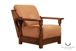 Jamestown Lounge Feudal Oak Vintage Carved Lounge Chair