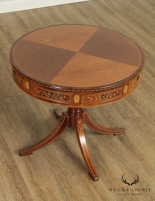 Exceptional Rosewood and Mahogany Marquetry Inlaid Round Drum Table