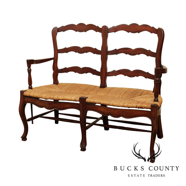 French Country Style Ladderback Rush Seat Settee