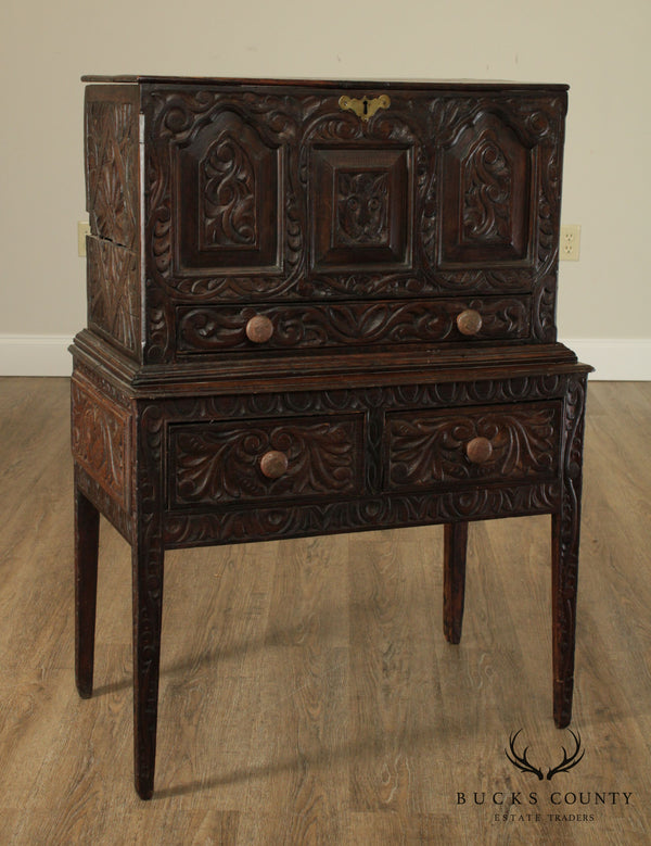 Antique 18th Century Continental Carved 2 Drawer Box on Stand