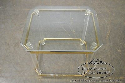 Lucite Brass & Glass MCM Side Table