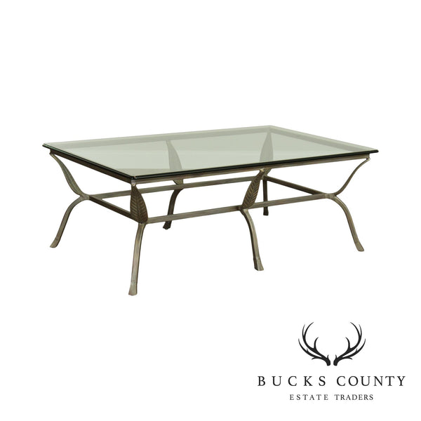 Wrought Iron Leaf Design Glass Top Coffee Table