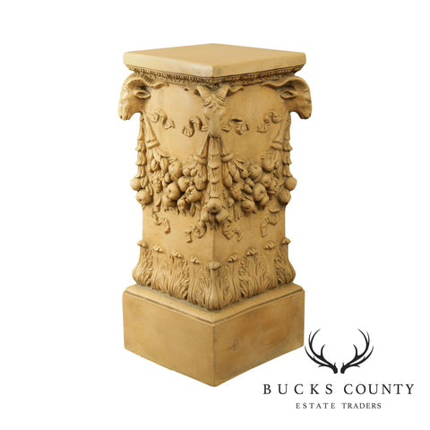 Impruneta Italian Renaissance Style Vintage Carved Column Pedestal with Rams Heads