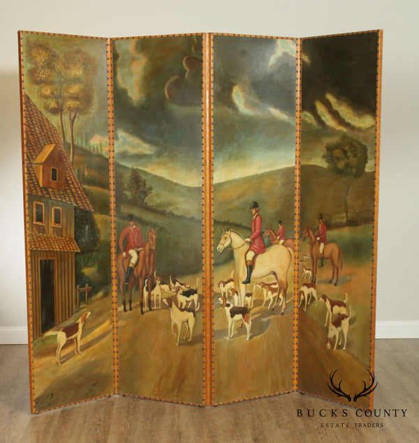 Maitland Smith Hand Painted English Hunt Scene Room Divider, Folding Screen