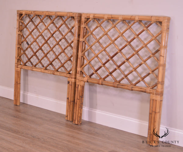 Mid Century Pair Vintage Latticed Bamboo Twin Headboards