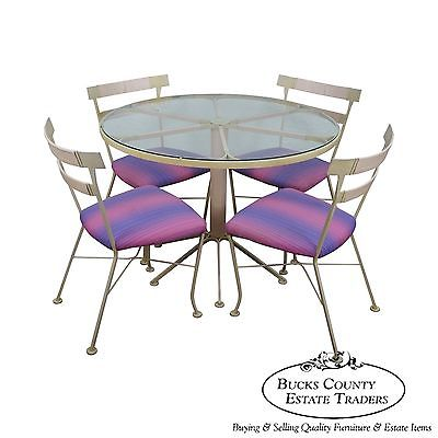 Lee Woodard & Sons Rare Mid Century Modern 5 Piece Round Patio Table/Chairs Set