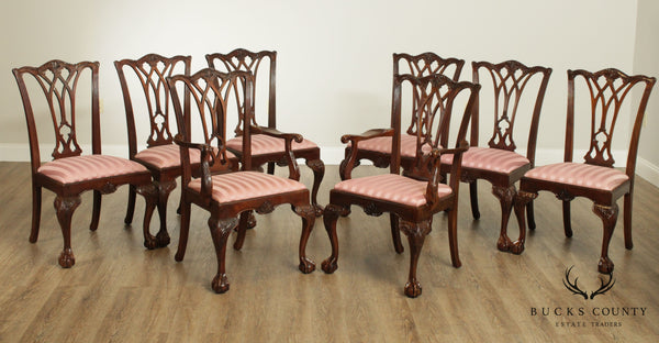 Drexel Heritage Solid Mahogany Set of 8 Chippendale Style Dining Chairs