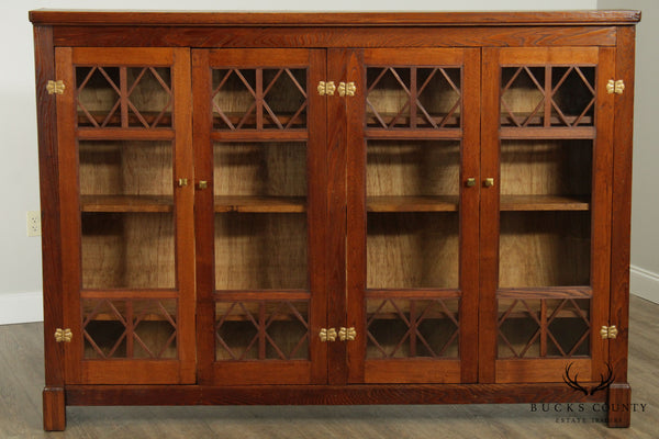 Antique Arts & Crafts Oak 4 Door Bookcase