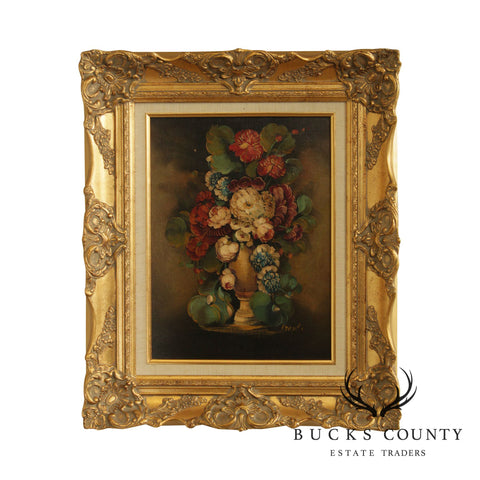 Artist Signed Gilt Frame Oil Painting on Canvas Flowers in Vase