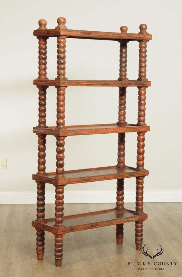 Indian Harwood Bobin Turned 5 Tier Bookcase Etagere