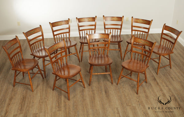 Hitchcock Set 10 Maple Harvest Stenciled Dining Chairs