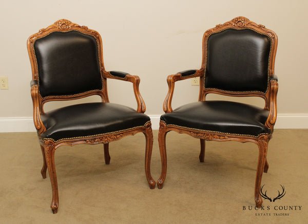 Chateau D'AX French Louis XV Style Black Leather Pair Fauteuil Armchairs