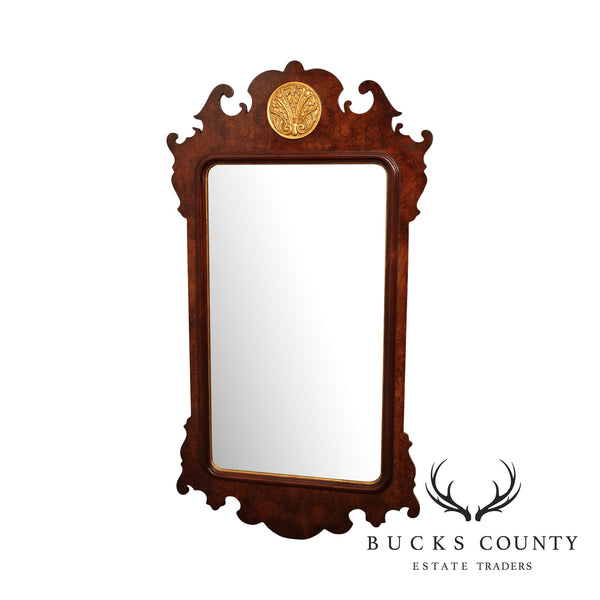 Henredon Aston Court Burl Wood Chippendale Style Wall Mirror