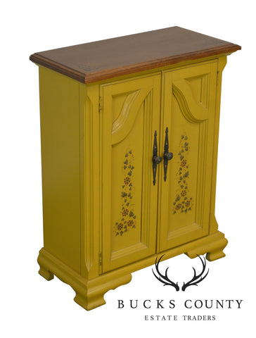 Hitchcock Style Yellow Painted Small Maple Cabinet Console