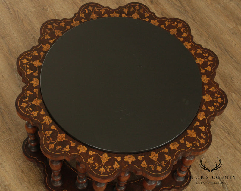 Moorish Style Vintage Marquetry Inlaid Round Slate Top Coffee Table by Century