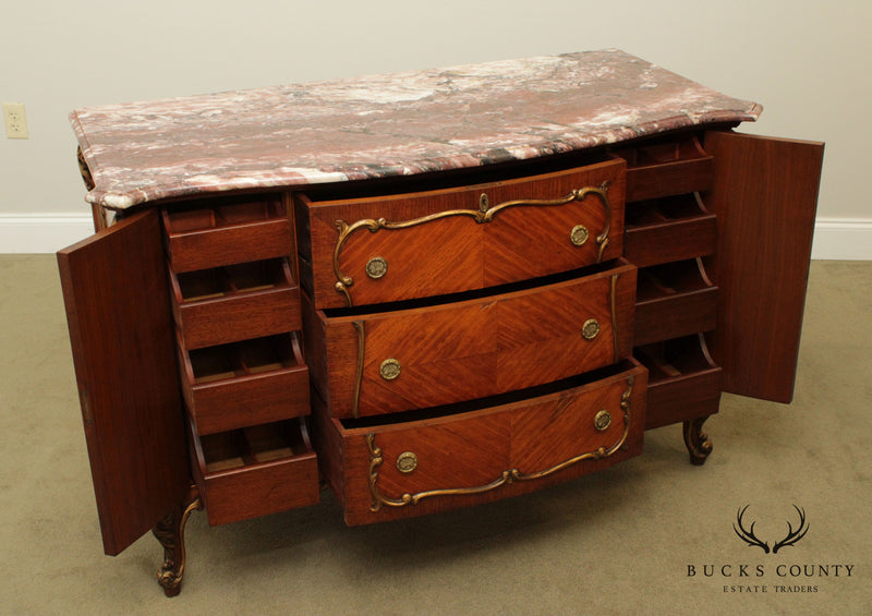 French Louis XV Style Antique Carved Marble Top Server, Chest of Drawers