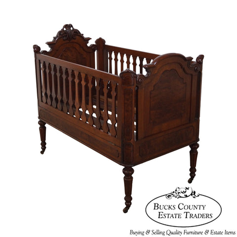 Antique 19th Century Walnut American Renaissance Revival Baby Doll Crib