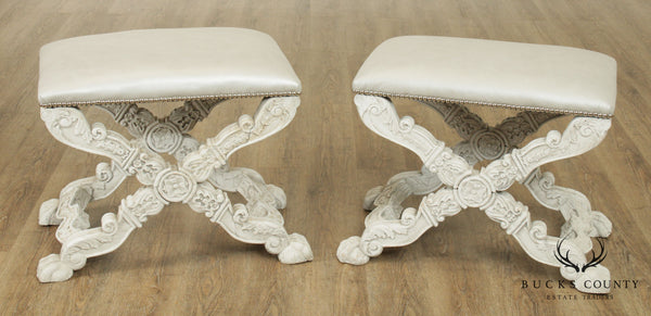 Italian Baroque Style Carved White Painted Pair X Stools, Benches