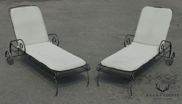 Woodard Black Wrought Iron Pair Patio Chaise Lounges (B)