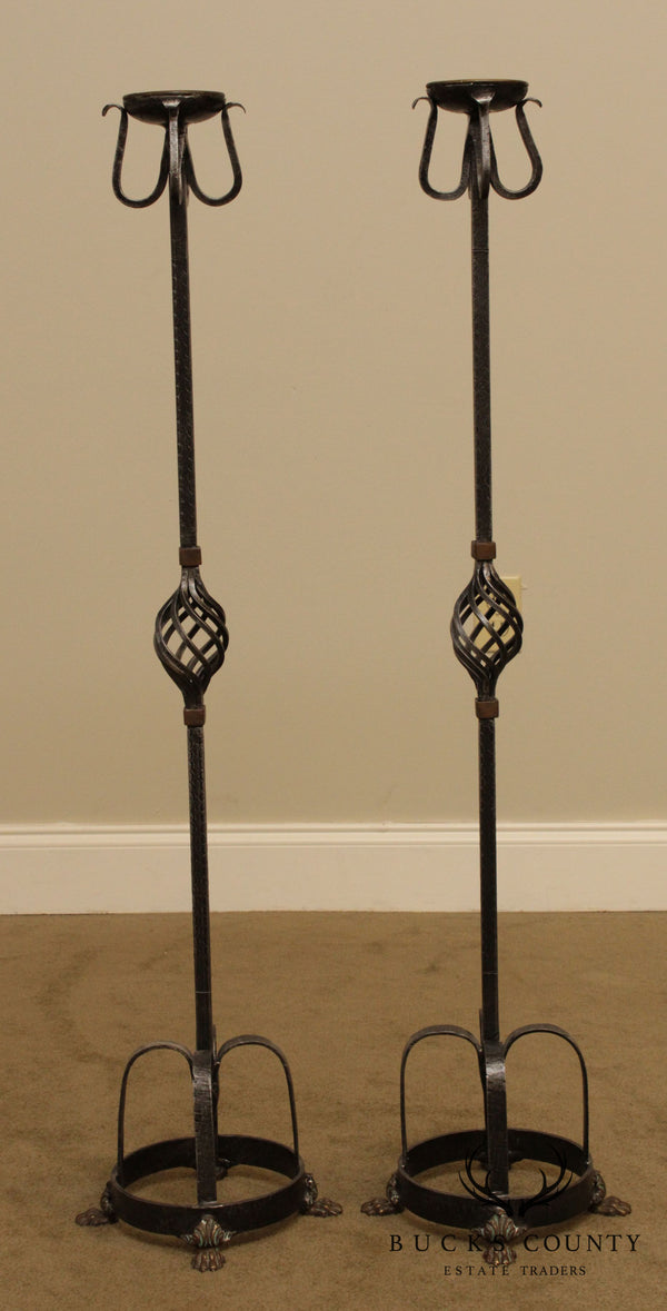 Spanish Renaissance Style Pair Forged Iron Candle Stands