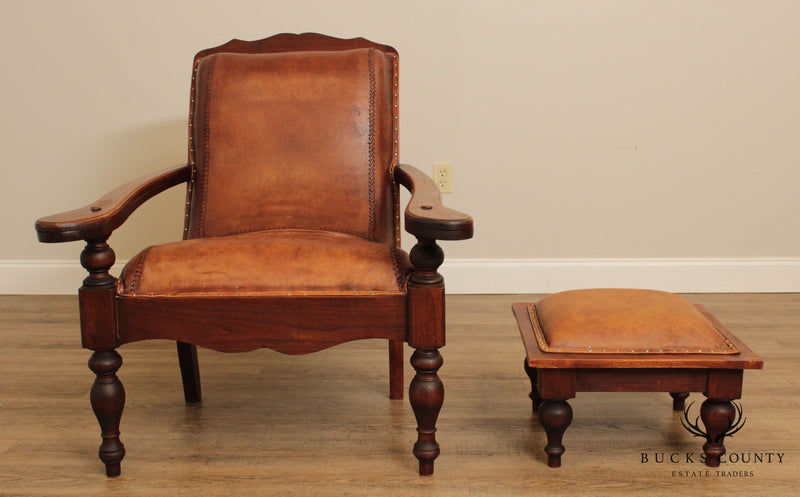 British Colonial Style Vintage Hardwood & Leather Plantation Lounge Chair with Ottoman