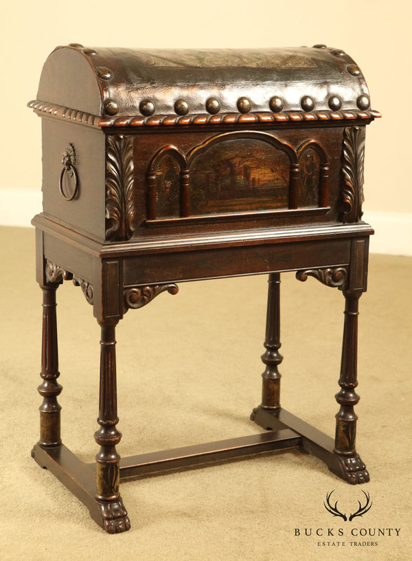 1920's Spanish Baroque Style Walnut & Hand Painted Leather Dome Top Chest on Stand
