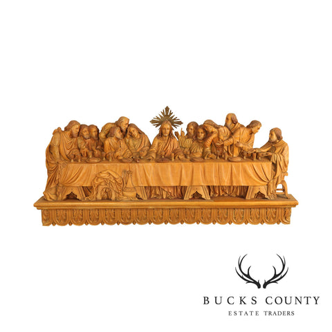 """Last Supper"" Large Relief Carved Wood Wall Hanging"