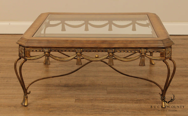 French Louis XV Style Gold Iron Base Square Glass Top Coffee Table