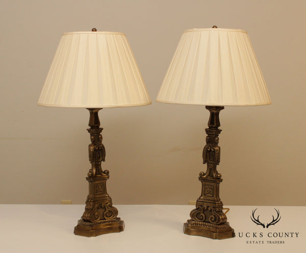 Quality Pair Bronze Renaissance Style Table Lamps