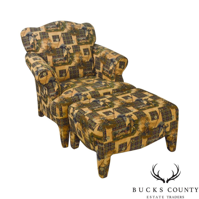 Custom Upholstered Golf Print Club Lounge Chair w/ Ottoman