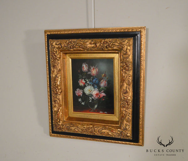 Still Life Of Flowers Custom Framed Oil Painting