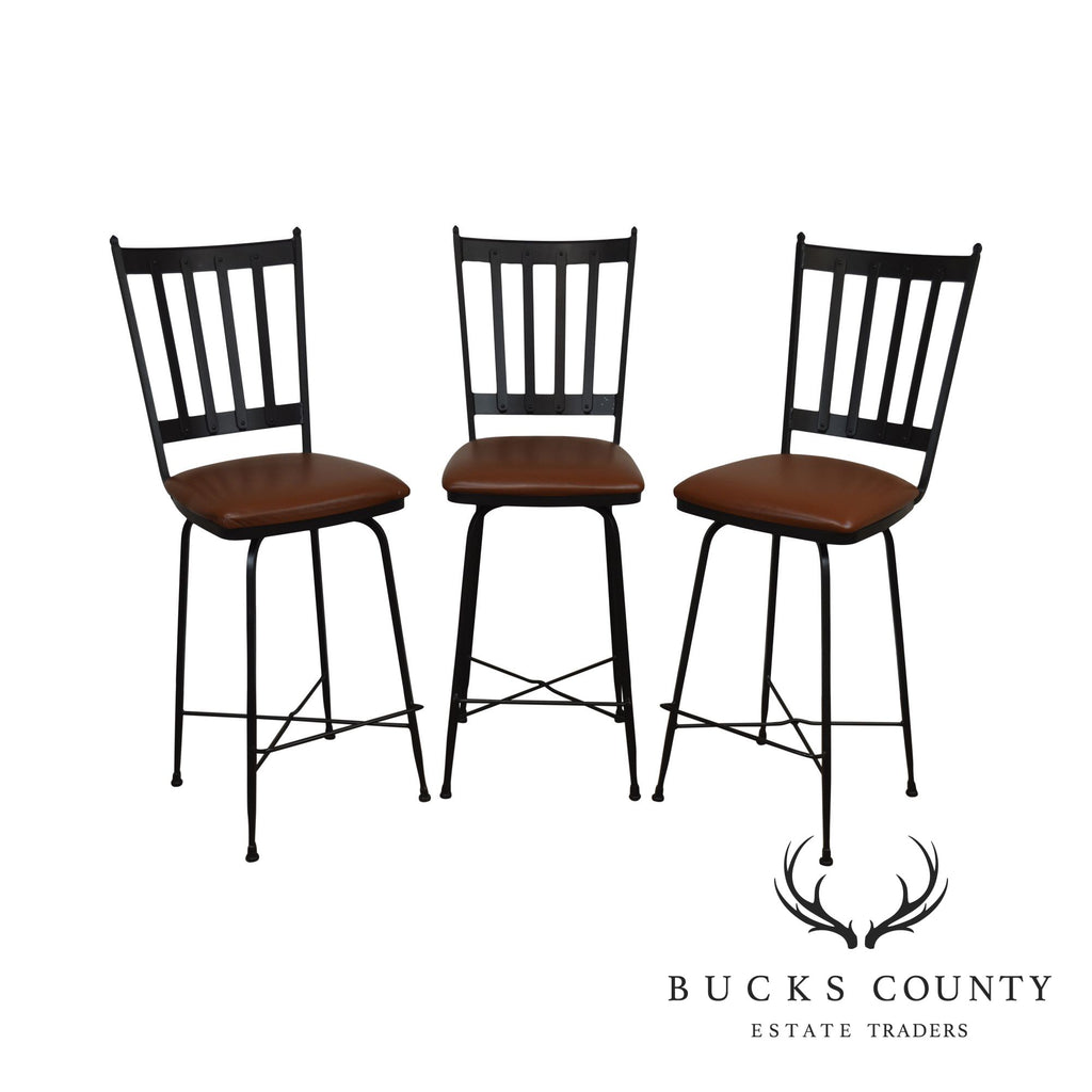 Outstanding Charleston Forge Circa 1905 Set 3 Iron Swivel Bar Stools Caraccident5 Cool Chair Designs And Ideas Caraccident5Info