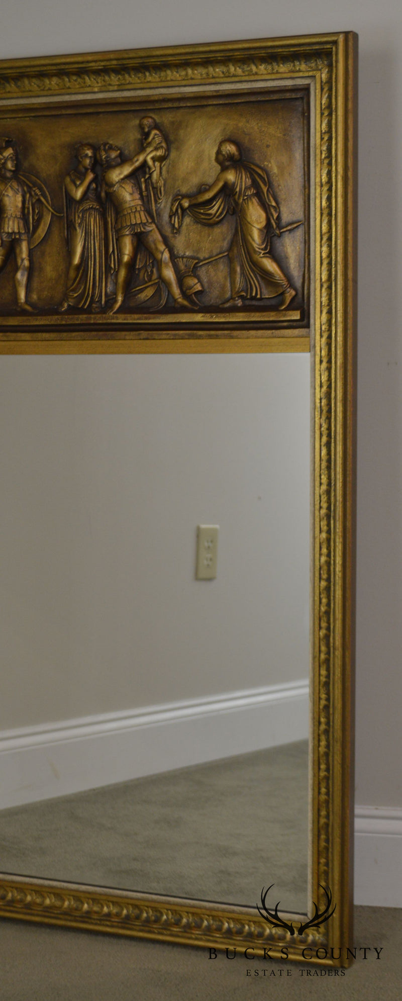 Gilt Relief Plaque Trumeau Mirror